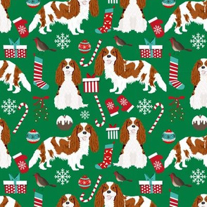 Cavalier King Charles Spaniel Christmas fabric blenheim coat green