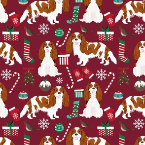 Cavalier King Charles Spaniel Christmas fabric blenheim coat ruby