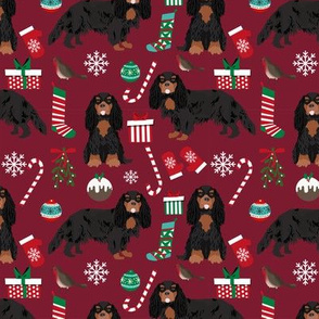 Cavalier King Charles Spaniel Christmas fabric black and tan coat ruby
