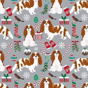 Cavalier King Charles Spaniel Christmas fabric blenheim coat grey