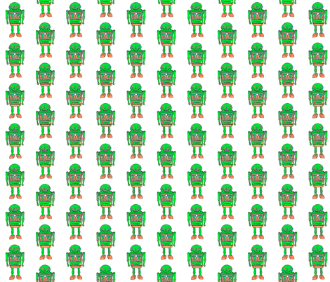 Green robot smaller prints fabric by andmonstertoys on Spoonflower - custom fabric