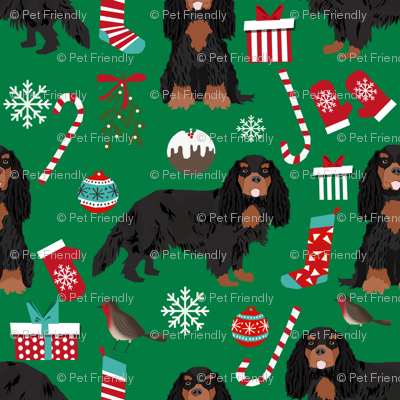 Cavalier King Charles Spaniel Christmas fabric black and tan coat green