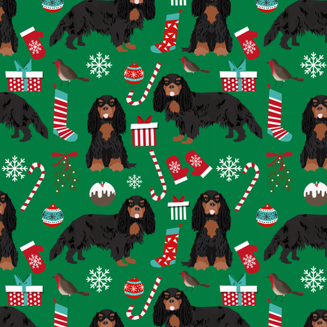 Cavalier King Charles Spaniel Christmas fabric black and tan coat green fabric by petfriendly on Spoonflower - custom fabric
