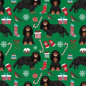 Cavalier King Charles Spaniel Christmas fabric black and tan coat green