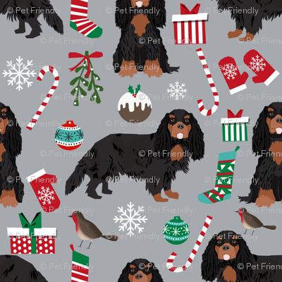 Cavalier King Charles Spaniel Christmas fabric black and tan coat grey