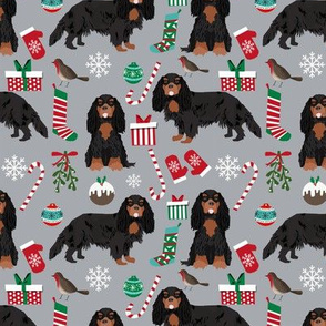 Cavalier King Charles Spaniel Christmas fabric black and tan coat grey