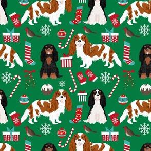 Cavalier King Charles Spaniel Christmas fabric mixed coats green