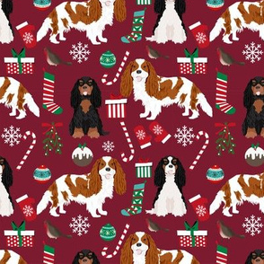 Cavalier King Charles Spaniel Christmas fabric mixed coats ruby