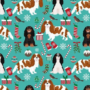 Cavalier King Charles Spaniel Christmas fabric mixed coats turquoise