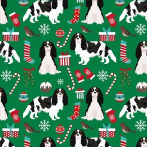 Cavalier King Charles Spaniel Christmas fabric tricolored coat green