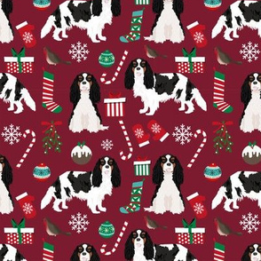 Cavalier King Charles Spaniel Christmas fabric tricolored coat ruby