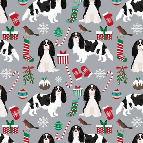 Cavalier King Charles Spaniel Christmas fabric tricolored coat grey