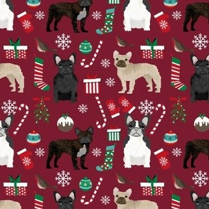 French Bulldog Christmas fabric candy canes stockings snowflakes winter maroon