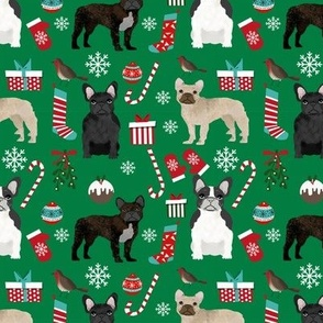 French Bulldog Christmas fabric candy canes stockings snowflakes winter green