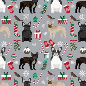 French Bulldog Christmas fabric candy canes stockings snowflakes winter grey