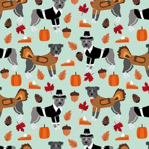 Pitbull Thanksgiving fabric fall autumn turkey and pilgrims light green