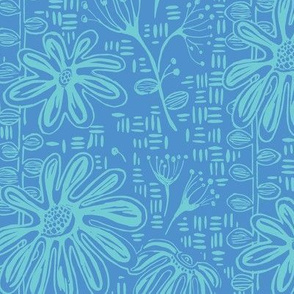 A Blue Suzy Sunshine Block Print Botanical