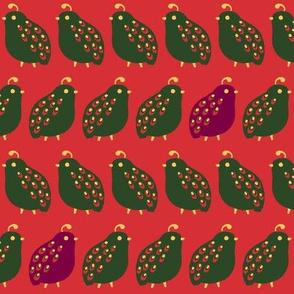 Quail Parade - Christmas Red