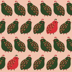 Quail Parade - Christmas Peach
