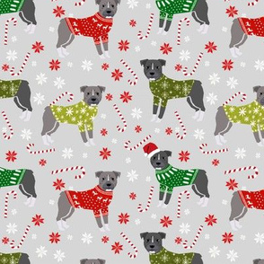 Pitbull Christmas winter sweaters fabric grey