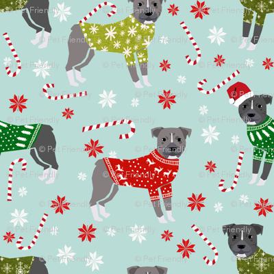 Pitbull Christmas winter sweaters fabric blue