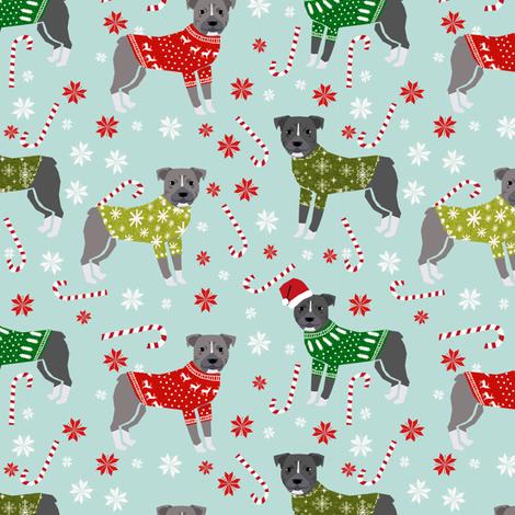 Pitbull Christmas winter sweaters fabric blue fabric by petfriendly on Spoonflower - custom fabric
