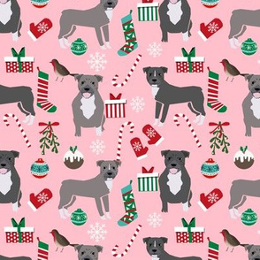 Pitbull Christmas fabric candy canes snowflakes presents pink
