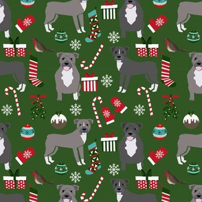 Pitbull Christmas fabric candy canes snowflakes presents green