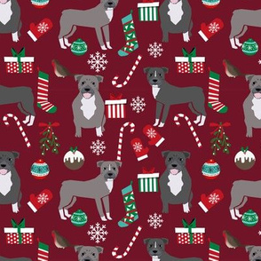 Pitbull Christmas fabric candy canes snowflakes presents ruby
