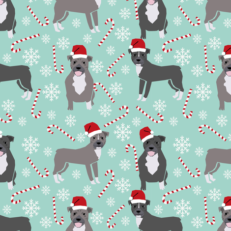 Pitbull peppermint stick winter candy cane christmas fabric ice blue fabric by petfriendly on Spoonflower - custom fabric