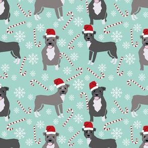 Pitbull peppermint stick winter candy cane christmas fabric ice blue