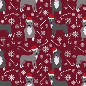 Pitbull peppermint stick winter candy cane christmas fabric maroon