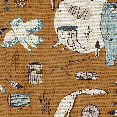 Call of the Wild (caramel)  fabric by nouveau_bohemian on Spoonflower - custom fabric