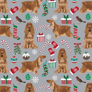Cocker Spaniel Christmas fabric candy canes snowflakes presents grey