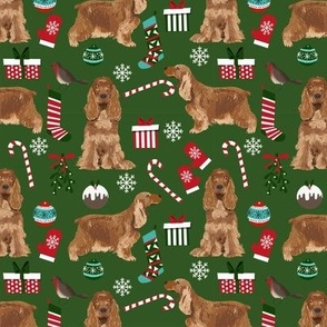 Cocker Spaniel Christmas fabric candy canes snowflakes presents green