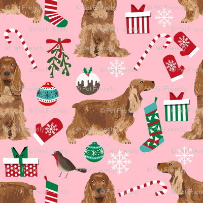 Cocker Spaniel Christmas fabric candy canes snowflakes presents pink