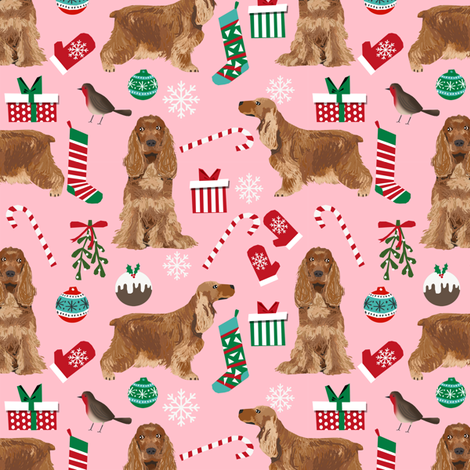 Cocker Spaniel Christmas fabric candy canes snowflakes presents pink fabric by petfriendly on Spoonflower - custom fabric