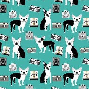 boston terrier camera fabric vintage cameras and dogs design