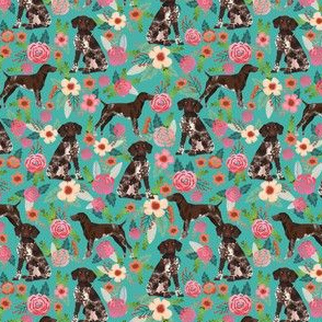 german shorthaired pointer dog floral fabric cute dogs and flowers design - turquoise