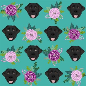Labrador Retriever black coat floral bouquet fabric black  lab teal