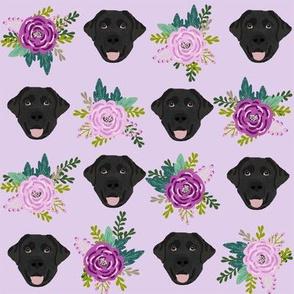 Labrador Retriever black coat floral bouquet fabric black  lab purple