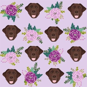 Labrador Retriever chocolate coat floral bouquet fabric chocolate  lab purple