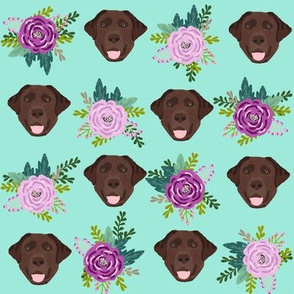 Labrador Retriever chocolate coat floral bouquet fabric chocolate  lab minty