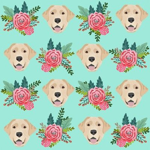 Labrador Retriever yellow coat floral bouquet fabric yellow lab minty