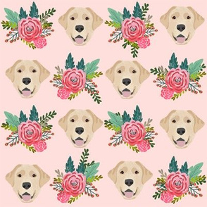 Labrador Retriever yellow coat floral bouquet fabric yellow lab pink