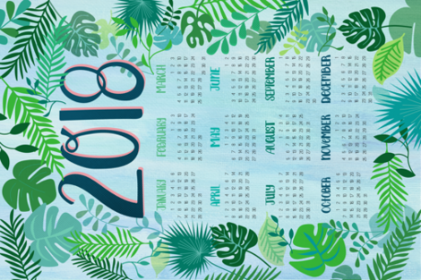 Welcome to the Jungle - 2018 Calendar fabric by monicaanndesign on Spoonflower - custom fabric