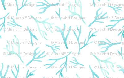 Nautical Blue coral || Watercolor branches sea green turquoise blue white ocean water branch_ Miss Chiff Designs