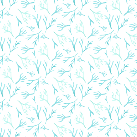 Nautical Blue coral || Watercolor branches sea green turquoise blue white ocean water branch_ Miss Chiff Designs  fabric by misschiffdesigns on Spoonflower - custom fabric