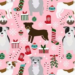 pitbull dog fabric pitbull xmas holiday christmas design - pink