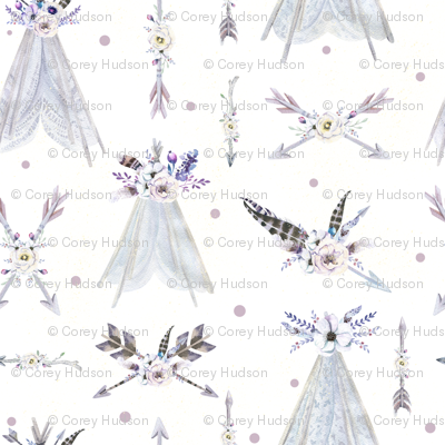 Teepee and Arrows in Purple and Grey